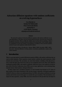 Advection-diffusion equations with random coefficients on evolving